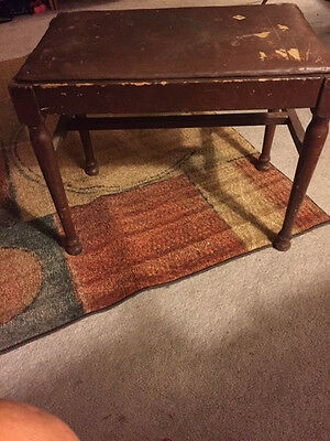 Antique Piano Vanity Stool Bench c. 1920's, Howe Spaulding padded seat