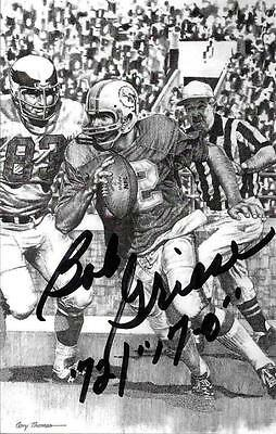 Rare Bob Griese Signed B&w Postcard~Pro Football Hall Of Fame~Hof Auto~Dolphins