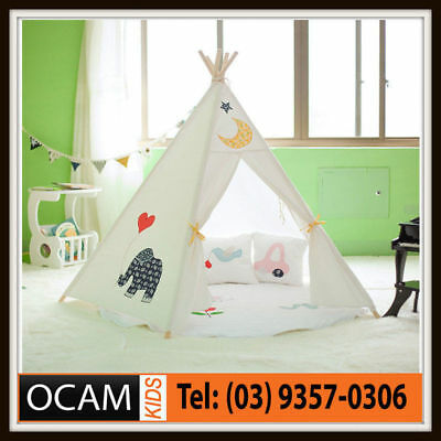Large Canvas Cotton Elephant Play Tent Teepee 5 timber post Tee Pee Tipi Indoor