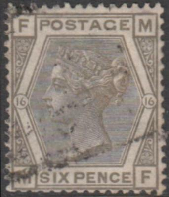 Great Britain 1878 QVic 6d grey Spray of Rose watermark Plate 16 used