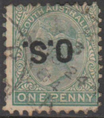 South Australia 1876 QVic 1d green OS overprint inverted used