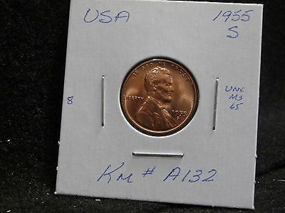 Usa:   1955 S   Lincoln Wheat Cent Coin  (Unc.) (#52)    Km # A132