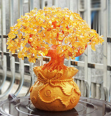 FD4587 Feng Shui Wealth Lucky Citrine Crystal Gem Money Tree in Money Bag Pot✿