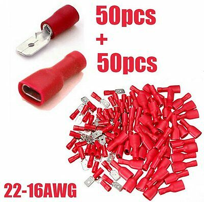 100pcs Fully Female&Male Spade Terminals Crimp Connector Red 22-16AWG