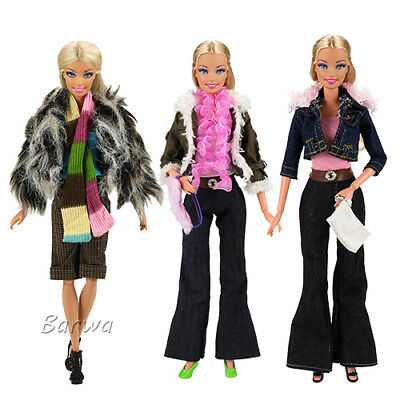 Lot 3 Sets Fashion Handmade Casual Dress Clothes Outfits For Barbie Doll Gifts