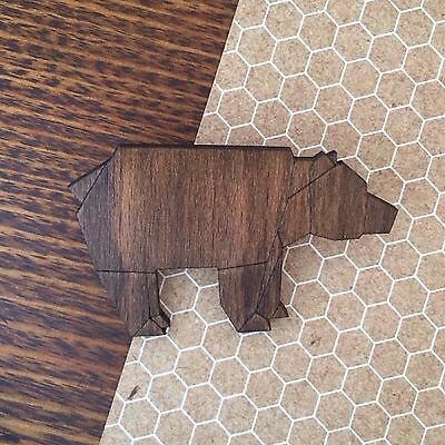 Hand crafted, Hand Stained Bear wooden Brooch / Pin - Modern Geometric