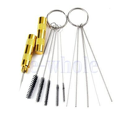 11pc Airbrush Spray Cleaning Repair Tool Kit Stainless Steel Needle Brush Set TW