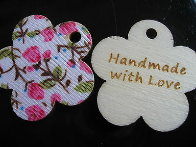 15 Piece HANDMADE WITH LOVE FLOWER wooden button Label Tag Pendant 3 cm