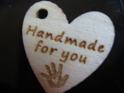15 Piece HANDMADE FOR YOU heart wood BUTTON Label Tag Pendant 2 cm/20 mm