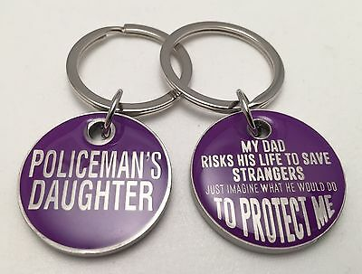 Police Daughter keyring x 1, Law Enforcement, Purple Colour, Gift