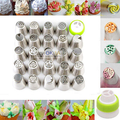 24Pcs Russian Tulip Flower Icing Piping Nozzles Tips Cake Decoration Pastry Tool