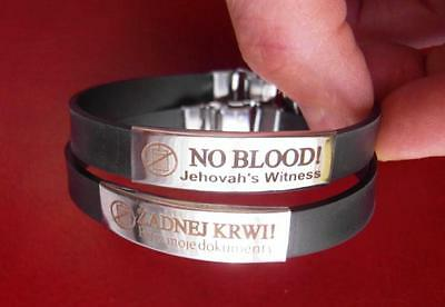 Wristband - No Blood ! Made Rubber+Stainless Steel_& Gift_ Jehovah's Witness