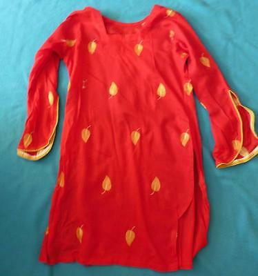 S 10 UK unworn red Kameez ladies Indian Pakistani lightweight tunic top Asian