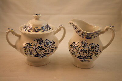 Blue Nordic by Meakin J & G Creamer & Sugar Bowl Dish Fine China Blue England