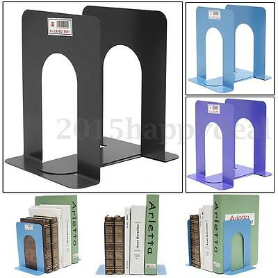 2 Pairs L-Shaped Stationery Bookend Anti-skid Metal Shelf Book Holder Office UK