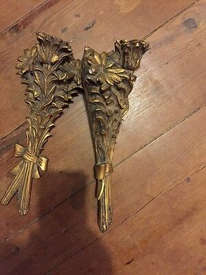 Mid Century Vintage Plaster Wall Sconces Gold Floral