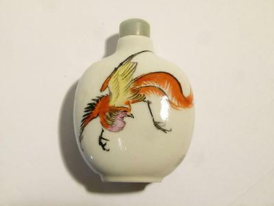 Vintage Chinese Snuff Bottle Hand Painted Porcelain Bird and a Dragon #30