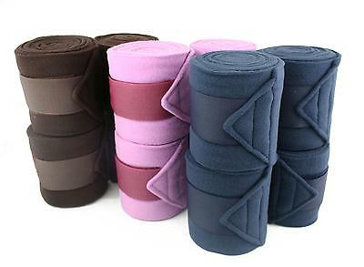 Fantastic Fleece Polo Bandages Stable/Travel Set of Four, Brown, Lilac, Navy !!