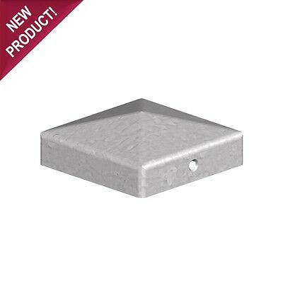 """75mm Pyramid Square Galvanised Metal Fence Post Caps - For 3"""" Posts"""
