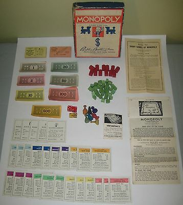 Vintage 1937 MONOPOLY By PARKER BROTHERS Game WOOD Pieces ORIGINAL Box NO Board