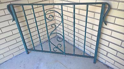 "Vintage Green Wrought Iron Porch Railing - Scroll Design - 42.25"" X 29.5"" High"