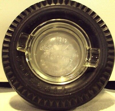 Vintage Firestone Champion Safety-Lock Cord Tire Ashtray With Glass Insert