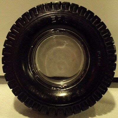 Vintage Riverside Tire Ashtray With Glass Insert