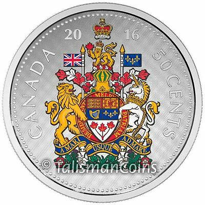 Canada 2016 Big Coins Series #5 Coat of Arms Color 50 Cents 5 Oz Silver Proof