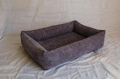 Large Grey Chunky Square Dog Bed