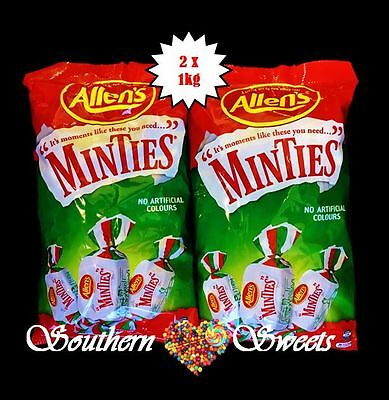 ALLENS MINTIES BULK LOLLIES 2 X 1KG BAGS 2KG BULK BUY green white candy buffet