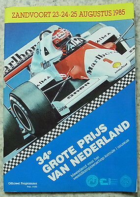 DUTCH GRAND PRIX FORMULA ONE F1 1985 ZANDVOORT Motor Sport Official Programme