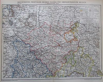 1895 RHEINPROVINZ WESTFALEN HESSEN I. II. alte Landkarte Karte Antique Map Litho