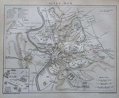 1895 ALTES ROM ROME ITALY ITALIEN ITALIA alte Stadtplan City Map Lithographie