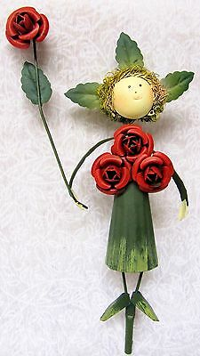 Cute Whimsical Colorful 3D Metal Garden Stake ~ Red Roses Fairy W/ Green Dress