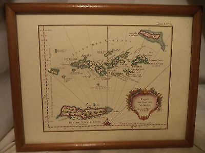 """Framed Map Isles Des Vierges 13 1/2""""x 11"""""""