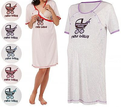 Happy Mama. Women's Maternity Hospital Gown Nightie for Labour & Birth. 021p