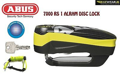Abus 7000 Rs 1 Alarm Disc Lock For Motorbike Motorcycle High Security Yellow+Dlr