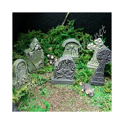 Dolls House Detailed Tombstones Headstones - Set Of 6 : Halloween 12th scale