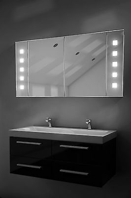 Illuminated Bathroom Mirror Cabinet with Sensor, Shaver  - c123