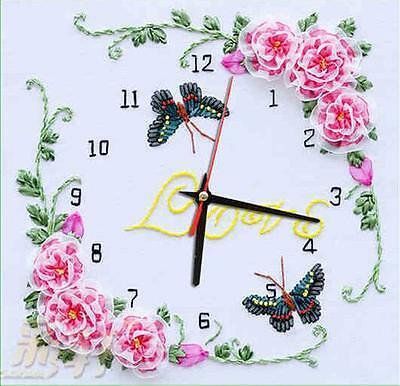 Ribbon Embroidery Kit Butterfly Rose Clock Face Needlework Craft Kit RE1053
