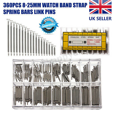 360Pcs 6-23mm Watch Band Strap Spring Bars Link Pins Stainless Steel Repair Tool