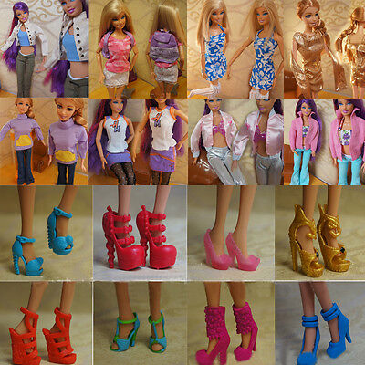 Lot 10 Set Fashion Handmade Clothes Outfit + 5 Pairs Shoes for Barbie Doll