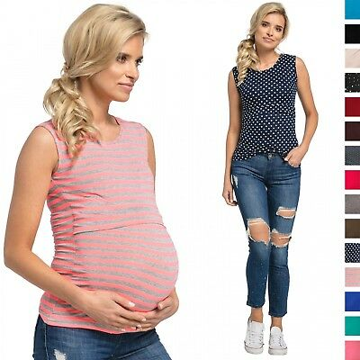 Happy Mama. Women's Nursing Double Layered Top Round Neckline Sleeveless. 997p