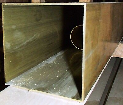 """BRASS SQUARE TUBING  4 X 4"""" SOLD BY 9"""" long about .050 wall"""