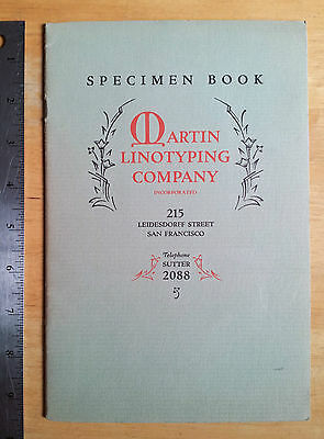 Martin Linotyping Co, Typography SPECIMEN BOOK, 1928 vintage, typesetting fonts