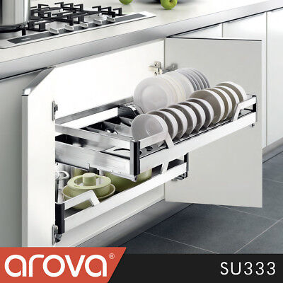 Pull Out Pantry Stainless Steel Drawer Cutlery Tray Dish Rack Soft Close Cabinet