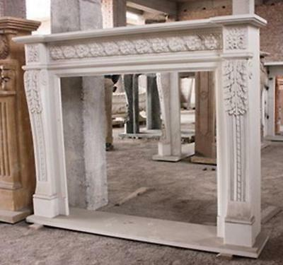 Hand Carved Marble Fireplace Mantel,  White Marble with Florettes and Acanthus L