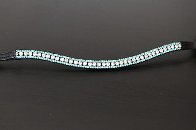 EquiPride Diamante Bling Sparkly Browband 3 Row Crystal Dressage TURQUOISE