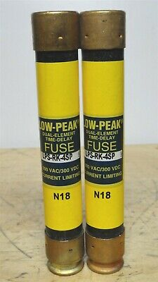 BUSSMANN (Lot of 2) LPS-RK-4SP - 4A Low Peak Time Delay Fuse (NEW)