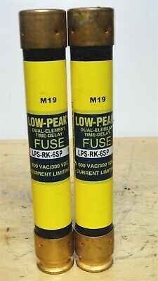 BUSSMANN * LPS-RK-6SP * Low Peak Time Delay Fuse * (LOT OF 2) *NEW*